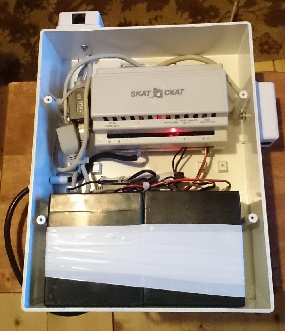 Бокс с аккумуляторами и БП Блок питания SKAT-24-2,0-DINN
