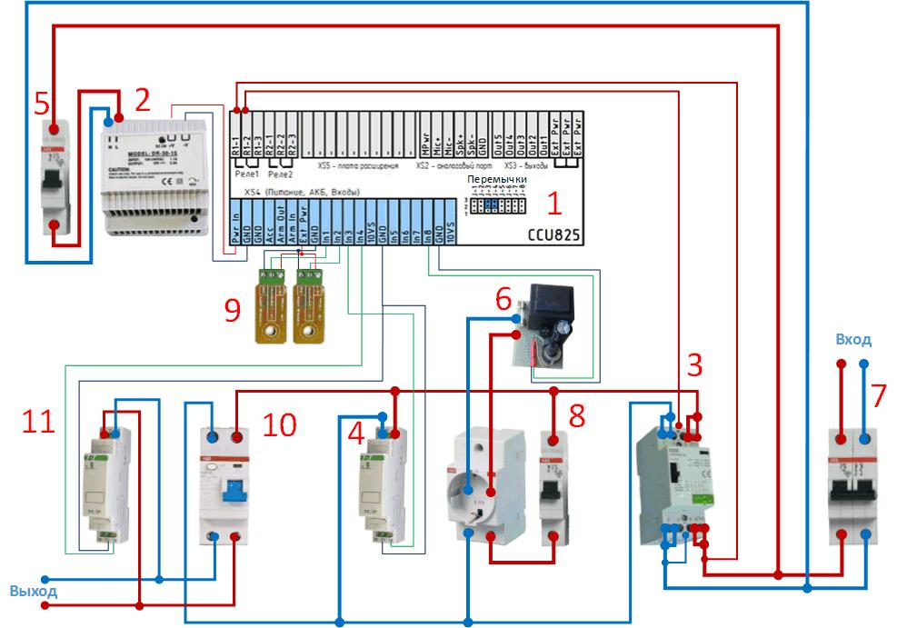 Схема включения всех компонентов