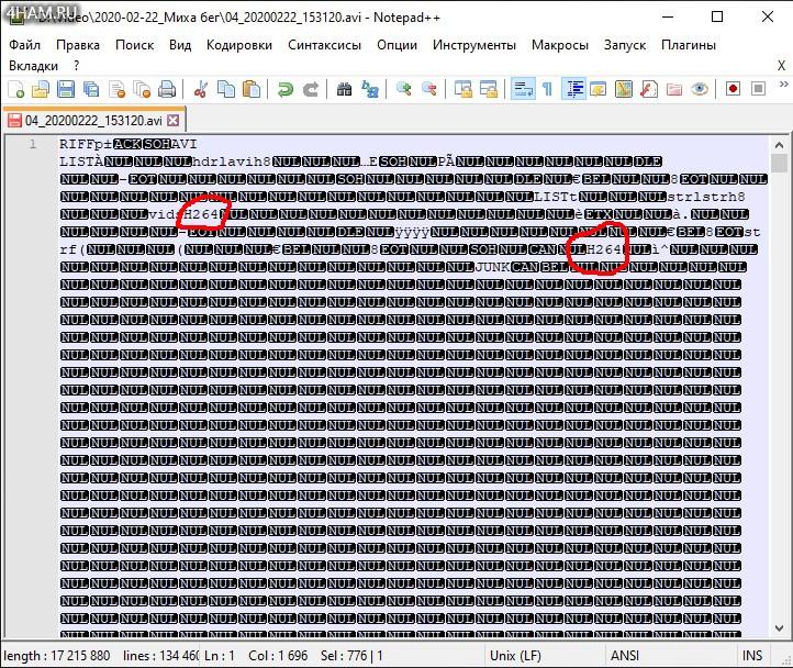 AVI файл в формате HEVC (H.265) но с заголовком H.264